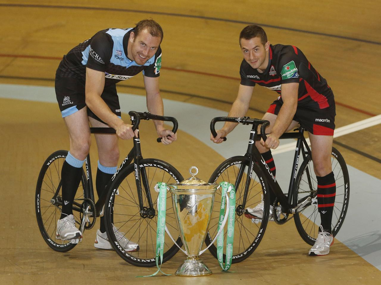 Glasgow Warriors Captain Alastair Kellock (left) and Edinburgh Rugby Captain Greig Laidlaw (right) during the Scottish Heineken Cup launch at the Sir Chris Hoy Velodrome, Glasgow.