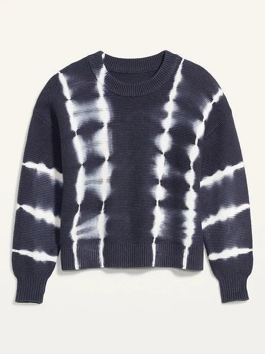 <p>Set aside that tie-dye sweatshirt and opt for a 100-percent-cotton, yarn-stitched <span>Old Navy Tie-Dye Stripe Textured Crew-Neck Sweater</span> ($20, originally $40) for a dressier look.</p>