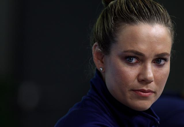 SHANGHAI, CHINA - JULY 23: Natalie Coughlin of the United States participates in a press conference on Day Eight of the 14th FINA World Championships at the Main Press Center of the Oriental Sports Center on July 23, 2011 in Shanghai, China. (Photo by Quinn Rooney/Getty Images)
