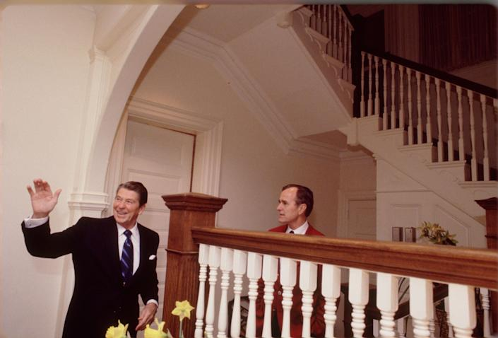 Ronald Reagan and George H.W. Bush at the residence on Feb. 23, 1981.