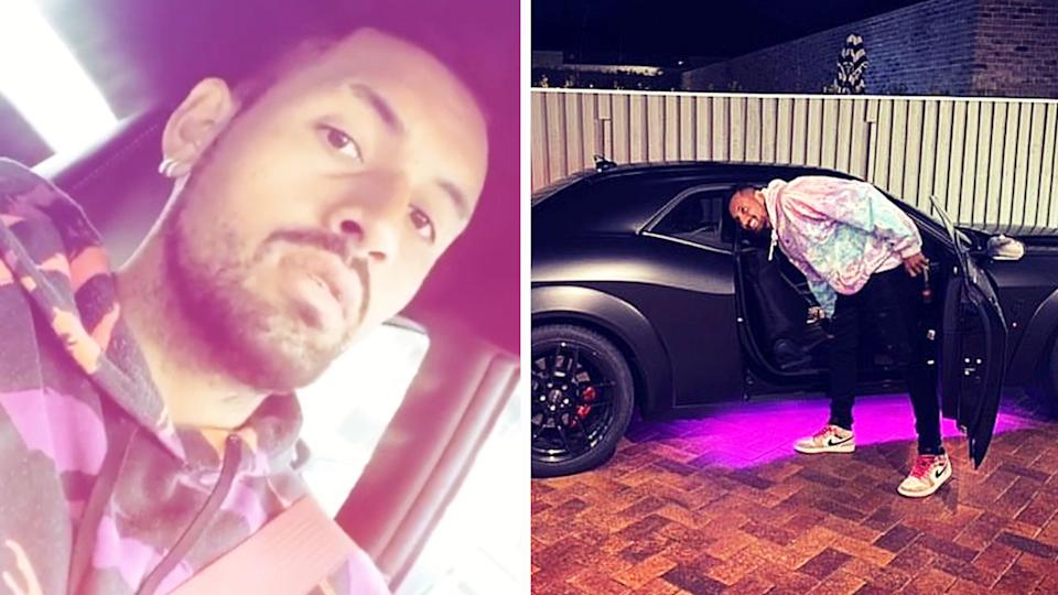 Nick Kyrgios (pictured left) talking to Instagram and (pictured right) posing with a car.