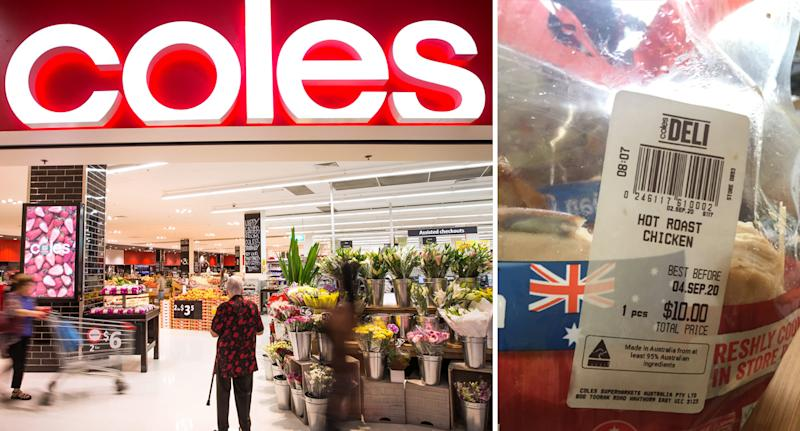 Phot shows front of Coles store and a Coles hot roast chicken.