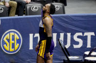 LSU's Ja'Vonte Smart leaves the court after LSU lost to Alabama in the championship game at the NCAA college basketball Southeastern Conference Tournament Sunday, March 14, 2021, in Nashville, Tenn. (AP Photo/Mark Humphrey)