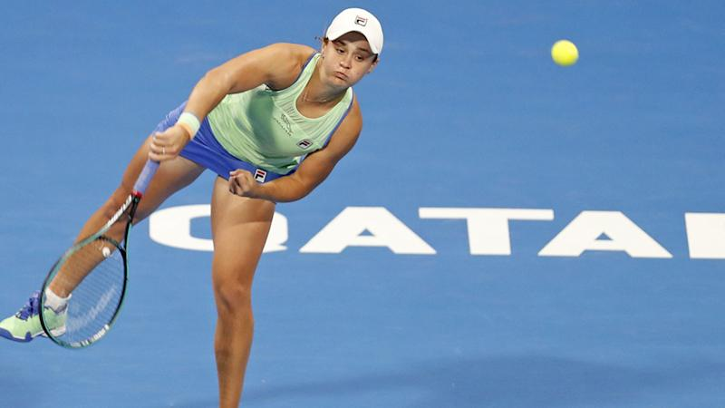 Ash Barty, pictured here in action at the Qatar Total Open tournament in February.