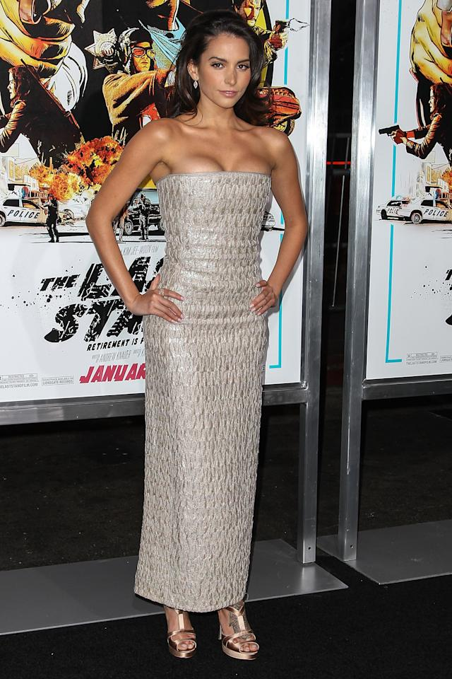 """HOLLYWOOD, CA - JANUARY 14:  Actress Genesis Rodriguez arrives at the premiere of Lionsgate Films' """"The Last Stand"""" held at Grauman's Chinese Theatre on January 14, 2013 in Hollywood, California.  (Photo by Paul A. Hebert/Getty Images)"""