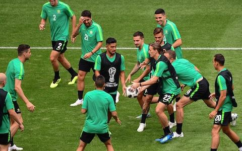 Australian players take part to a training session at the Samara Arena in Samara on June 20, 2018 on the eve of the Russia 2018 World Cup Group C football match between Denmark and Australia - Credit: AFP