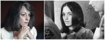 """FILE - This combination of file photos shows Susan Atkins, left, during a parole hearing at the California Institution for Women in Corona, Calif., on Dec. 20, 1989, and at right leaving the Los Angeles County Mens' Central Jail after meeting with co-defendant Charles Manson on March 6, 1970. Atkins, convicted of the Tate, LaBianca and Hinman murders, was a teenage runaway working as a topless dancer in a San Francisco bar when she met Manson in 1967. At trial, she testified she was """"stoned on acid"""" and didn't know how many times she stabbed Tate as the actress begged for her life. Atkins, who became a born-again Christian in prison and denounced Manson, died in prison of cancer at age 61 in 2009. (AP Photo/Files)"""