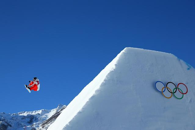 SOCHI, RUSSIA - FEBRUARY 08: Lucien Koch of Switzerland competes during the Snowboard Men's Slopestyle Semifinals during day 1 of the Sochi 2014 Winter Olympics at Rosa Khutor Extreme Park on February 8, 2014 in Sochi, Russia. (Photo by Julian Finney/Getty Images)