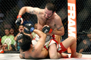 Matt Brown (L) has the upper hand on Erick Silva in their bout last month. (USA TODAY Sports)