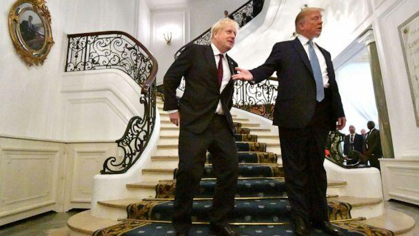 PHOTO: President Donald Trump and Britain's Prime Minister Boris Johnson arrive for a bilateral meeting during the G-7 summit on Sunday, Aug. 25, 2019 in Biarritz, France. (Dylan Martinez/Pool/Getty Images)