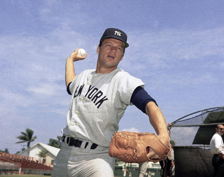 """FILE - This 1967 file photo shows New York Yankees pitcher Jim Bouton. Jim Bouton, the New York Yankees pitcher who shocked the conservative baseball world with the tell-all book """"Ball Four,"""" has died, Wednesday, July 10, 2019. He was 80. (AP Photo/File)"""