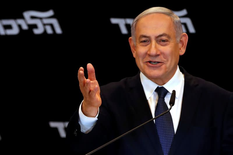 Israeli Prime minister Benjamin Netanyahu delivers a statment to the media in Jerusalem