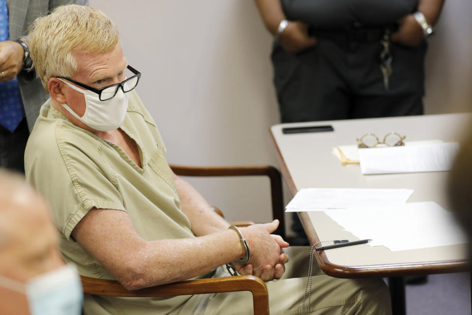 Alex Murdaugh sits during his bond hearing Thursday, Sept. 16, 2021, in Varnville, S.C. Murdaugh surrendered Thursday to face insurance fraud and other charges after state police said he arranged to have himself shot in the head so that his son would get a $10 million life insurance payout. (AP Photo/Mic Smith)
