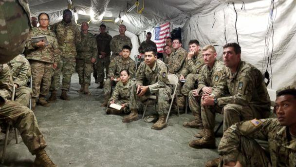 PHOTO: Army soldiers listen to a lecture in a medical clinic tent at Base Camp Donna. (Quinn Owen/ABC News)