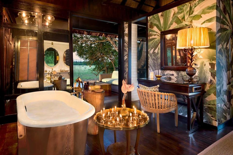 Bathroom at the andBeyond Phinda Vlei Lodge, voted one of the best hotels in the world