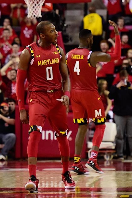 COLLEGE PARK, MD - FEBRUARY 06:  Rasheed Sulaimon #0 of the Maryland Terrapins reacts after a play in the second half against Purdue. (Photo by Patrick McDermott/Getty Images)