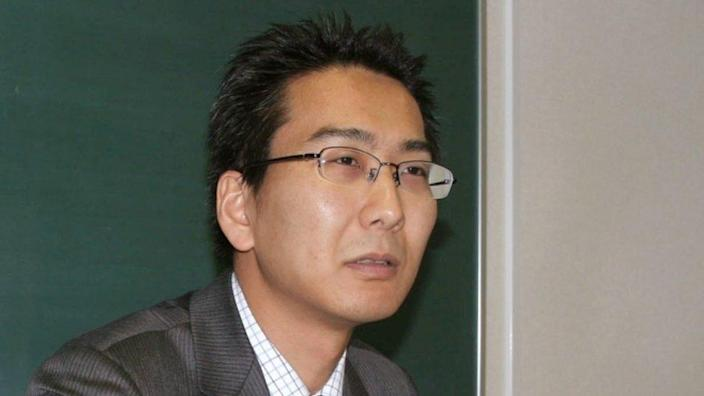 Japanese journalist Yuki Kitazumi speaks during an interview in Fukuoka, southwestern Japan, 1 April 2013, in this photo released by Kyodo.