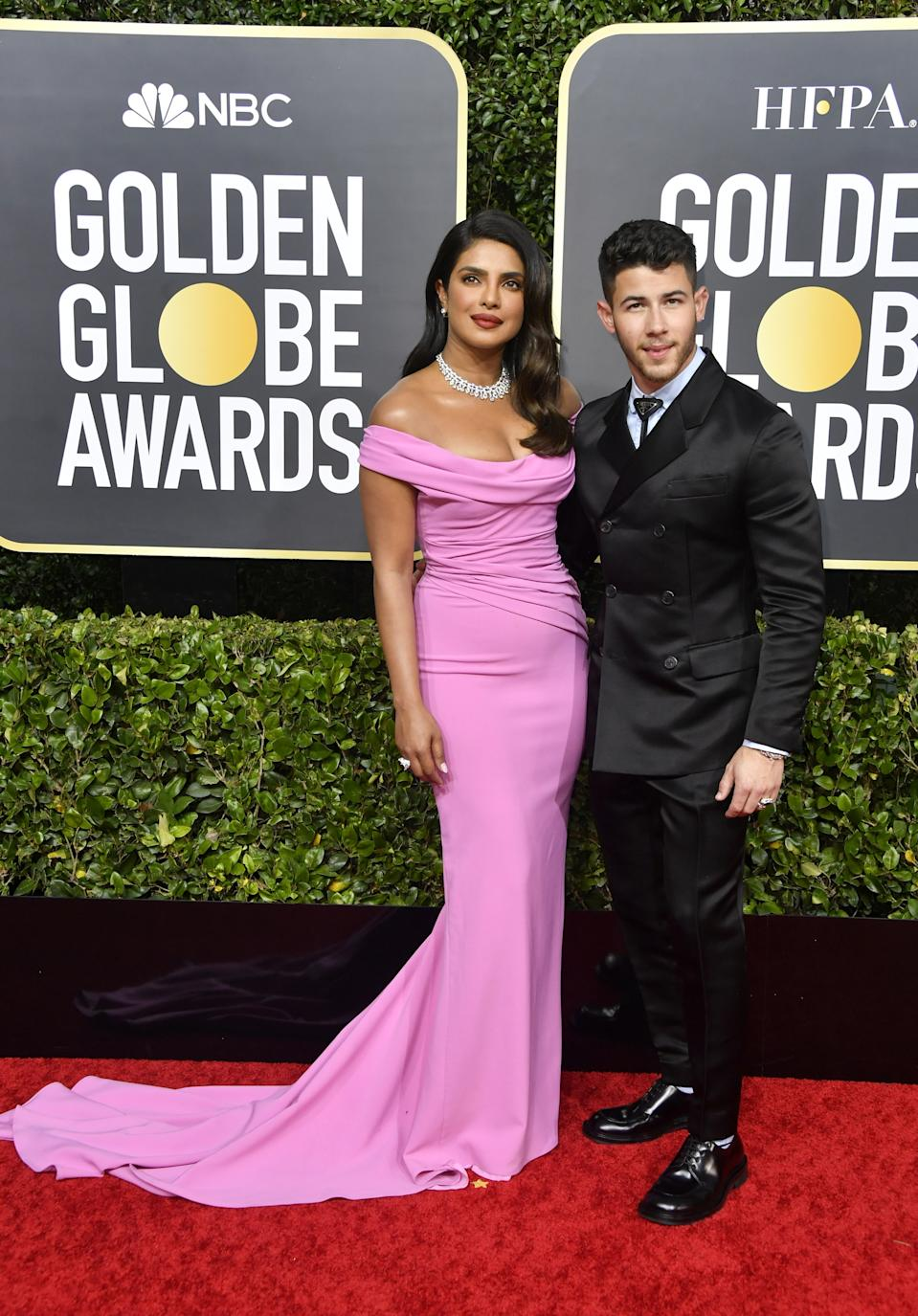 "<h1 class=""title"">Priyanka Chopra Jonas in Christian Louboutin shoes and Bulgari jewelry and Nick Jonas in Bulgari jewelry</h1><cite class=""credit"">Photo: Getty Images</cite>"
