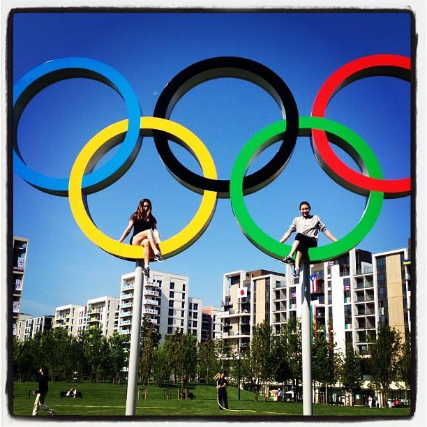 Me and Kyla finally got our chance to sit on the Olympic rings in the village!! @McKaylaMaroney