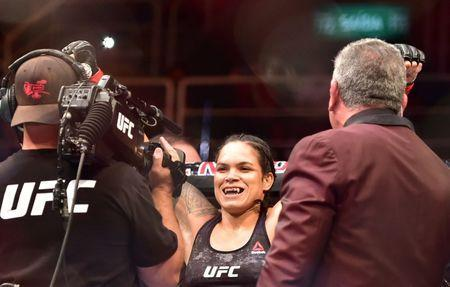 May 12, 2018; Rio de Janeiro, RJ, Brazil; Amanda Nunes before a fight against Raquel Pennington (blue)​​ during UFC 224 at Jeunesse Arena. Mandatory Credit: Jason Silva-USA TODAY Sports