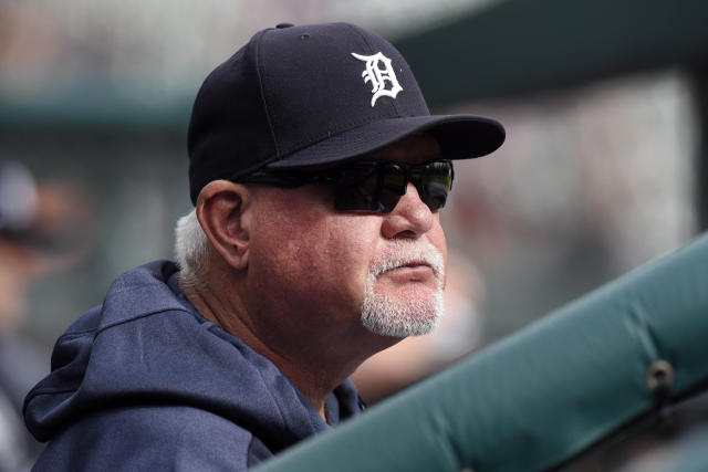 "File-This Sept. 15, 2019, file photo shows Detroit Tigers manager Ron Gardenhire watching his team play against the Baltimore Orioles in the seventh inning of a baseball game in Detroit. It could be another long season for the Detroit Tigers, but fans in the Motor City may not have to look far for signs of hope. About 60 miles down Interstate 75. We've got some pretty good ones going to Triple-A Toledo,"" Gardenhire said. ""They ought to be pretty happy down there. They're going to see some pretty good pitchers. (AP Photo/Jose Juarez, File)"