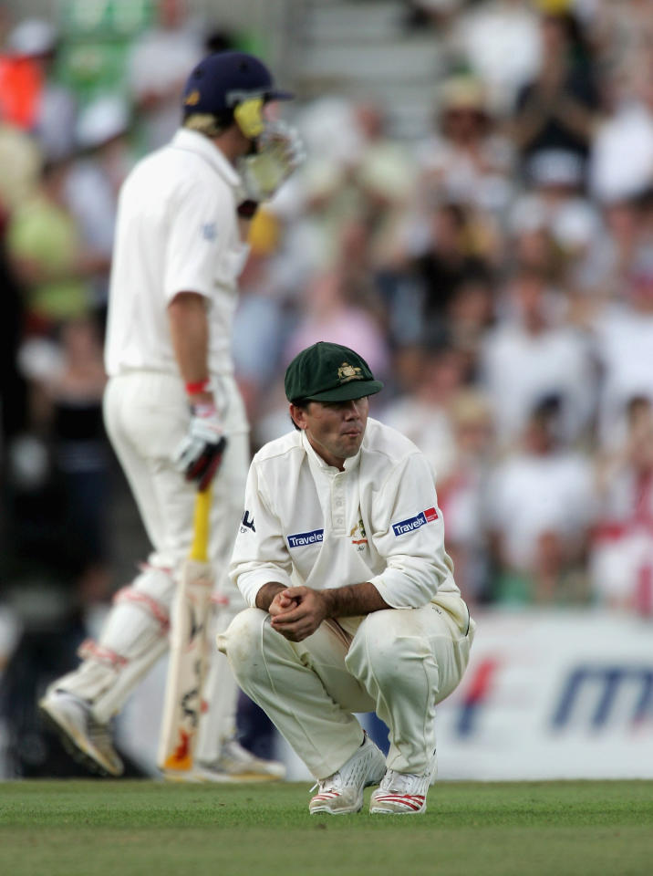 LONDON - SEPTEMBER 12: Ricky Ponting of Australia looks on during day five of the Fifth npower Ashes Test match between England and Australia at the Brit Oval on September 12, 2005 in London, England.  (Photo by Tom Shaw/Getty Images)