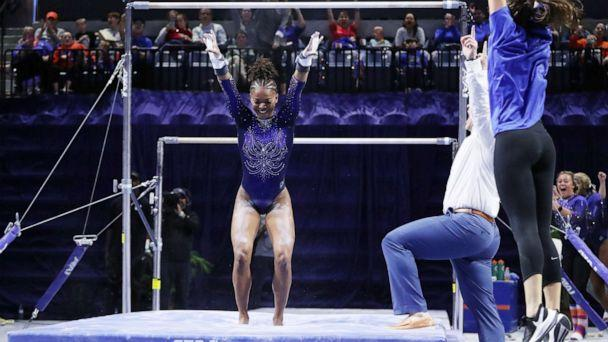 PHOTO: University of Florida gymnast Trinity Thomas scored a perfect 10 on the uneven bars in a Jan. 24, 2020, match against Louisiana State University. (University of Florida)