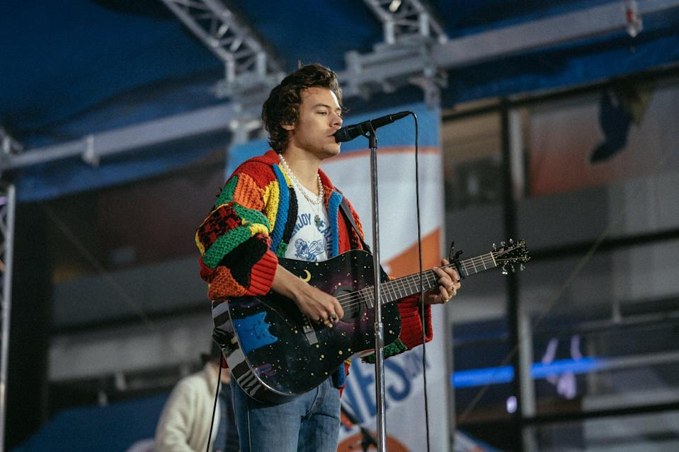 """<p>Harry sparked <a href=""""https://www.popsugar.com/fashion/harry-styles-crochet-cardigan-diy-47591622"""" class=""""link rapid-noclick-resp"""" rel=""""nofollow noopener"""" target=""""_blank"""" data-ylk=""""slk:TikTok's favorite fashion DIY project"""">TikTok's favorite fashion DIY project</a> after he wore this rainbow patchwork cardigan by JW Anderson to rehearse for a <strong>Today</strong> show performance in February 2020. So many people were buzzing about the look, in fact, that JW Anderson wound up releasing the pattern to the public for people to recreate it at home while sheltering in place. Harry's got some fashion influence, that's for damn sure.</p>"""