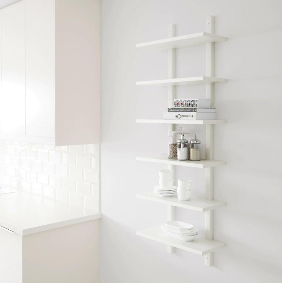 "<p>Simple in design, yet extremely useful, the <a href=""https://www.popsugar.com/buy/V%C3%A4rde%20Wall%20Shelf-446982?p_name=V%C3%A4rde%20Wall%20Shelf&retailer=ikea.com&price=55&evar1=casa%3Aus&evar9=46151613&evar98=https%3A%2F%2Fwww.popsugar.com%2Fhome%2Fphoto-gallery%2F46151613%2Fimage%2F46152170%2FV%C3%A4rde-Wall-Shelf&list1=shopping%2Cikea%2Corganization%2Ckitchens%2Chome%20shopping&prop13=api&pdata=1"" rel=""nofollow noopener"" target=""_blank"" data-ylk=""slk:Värde Wall Shelf"" class=""link rapid-noclick-resp"">Värde Wall Shelf</a> ($55) can be home to dishes, spice jars, utensils, and cookbooks.</p>"