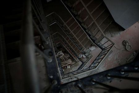 Staircase is seen at the abandoned Alps Ski Resort located near the demilitarised zone separating the two Koreas in Goseong, South Korea, January 16, 2018. REUTERS/Kim Hong-Ji