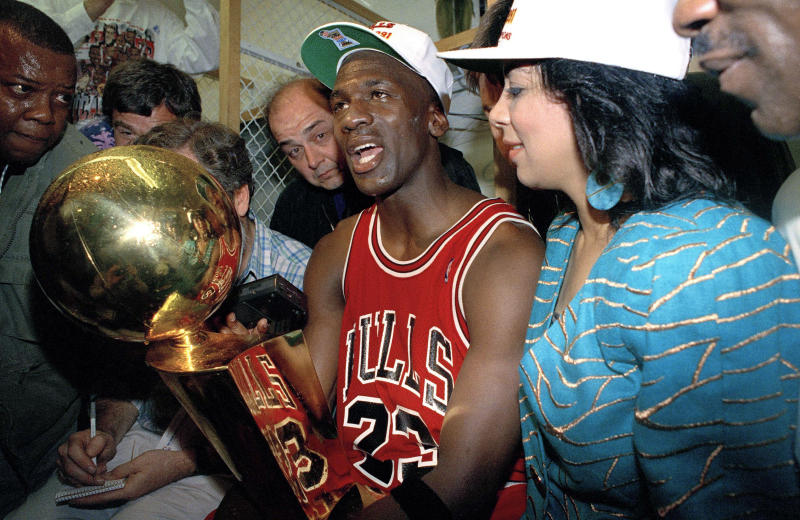 The Bulls didn't lose again in 1991 after Jordan's massive Game 2 effort. (AP Photo/Reed Saxon)
