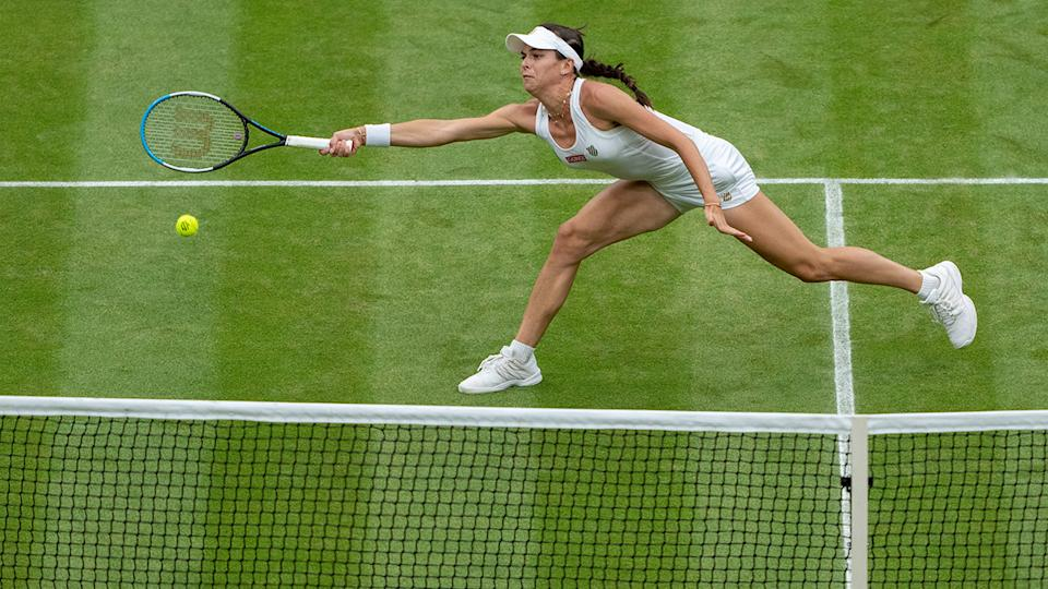 Ajla Tomljanovic, pictured here in action against Ash Barty in the Wimbledon quarter-finals.