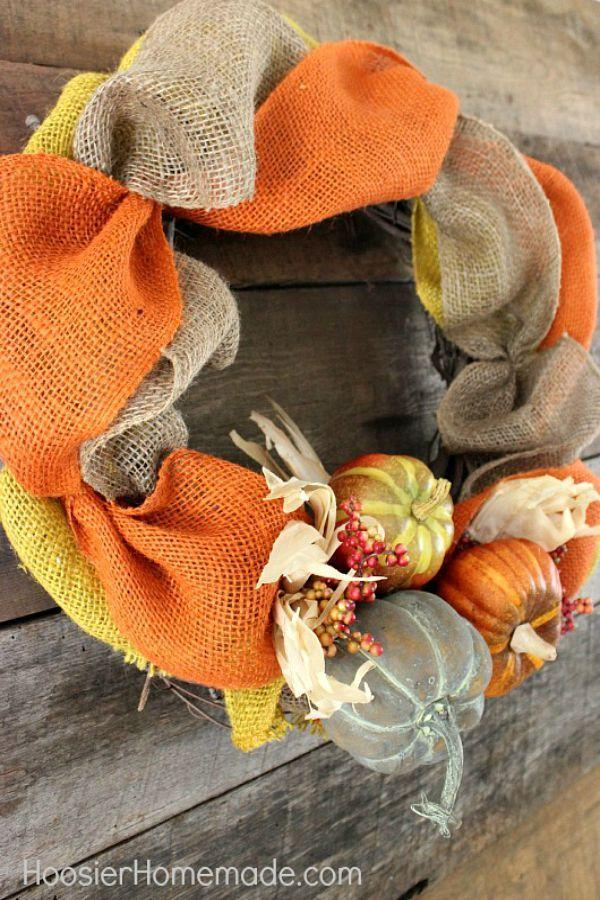 """<p>This braided burlap wreath, which can be hung on either a front door or mantel, can be hung from late September straight through to November.</p><p><strong>Get the tutorial at <a href=""""http://hoosierhomemade.com/diy-fall-wreath/"""" rel=""""nofollow noopener"""" target=""""_blank"""" data-ylk=""""slk:Hoosier Homemade"""" class=""""link rapid-noclick-resp"""">Hoosier Homemade</a>.</strong> </p>"""