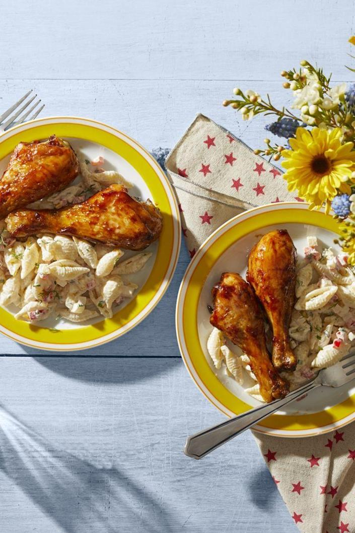 """<p>These barbecue drumsticks are made in the oven, which means you can enjoy the recipe's summertime flavors all year long.</p><p><strong><a href=""""https://www.thepioneerwoman.com/food-cooking/recipes/a32346143/barbecue-chicken-drumsticks-recipe/"""" rel=""""nofollow noopener"""" target=""""_blank"""" data-ylk=""""slk:Get the recipe."""" class=""""link rapid-noclick-resp"""">Get the recipe.</a></strong> </p>"""