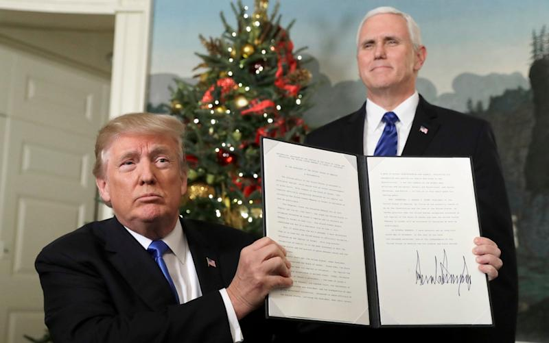 Donald Trump announced his decision to recognise Jerusalem as Israel's capital in December - AP