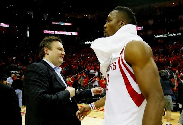 Houston Rockets general manager Daryl Morey (L), pictured in 2015, said in a since-deleted tweet: 'Stand with Hong Kong' (AFP Photo/SCOTT HALLERAN)