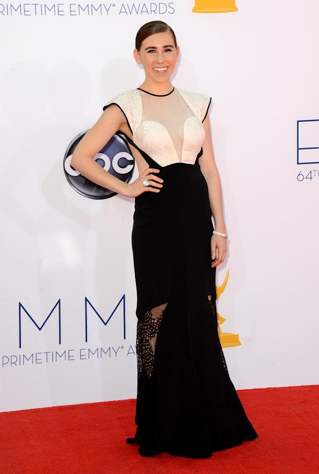 Zosia Mamet arrives at the 64th Primetime Emmy Awards at the Nokia Theatre in Los Angeles on September 23, 2012.