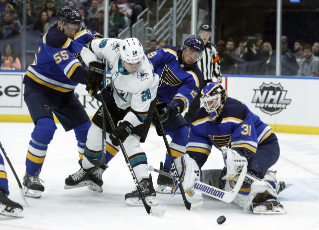 San Jose Sharks' Timo Meier (28), of Switzerland, is unable to score past St. Louis Blues goaltender Chad Johnson (31) as Blues' Colton Parayko (55) and Vince Dunn defend during the first period of an NHL hockey game Friday, Nov. 9, 2018, in St. Louis. (AP Photo/Jeff Roberson)
