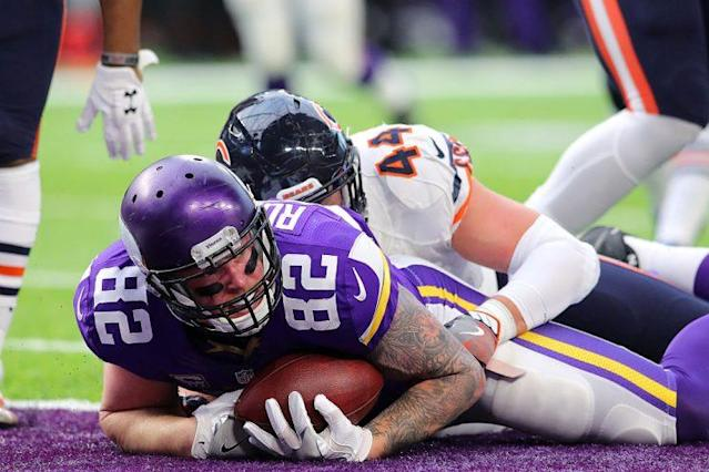 Kyle Rudolph led all tight ends in targets in 2016, and he was a red-zone magnet. (Photo by Adam Bettcher/Getty Images)