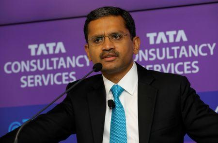 FILE PHOTO: Tata Consultancy Services (TCS) Chief Executive Officer Rajesh Gopinathan attends a news conference announcing the company's quarterly results in Mumbai, India, April 19, 2018. REUTERS/Danish Siddiqui/File Photo