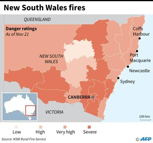 Map showing bushfire emergency warnings in Australia's New South Wales state as of November 21
