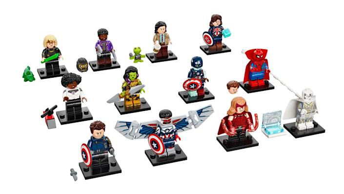 Three rows of LEGO minifigure Marvel superheroes against a white backdrop.