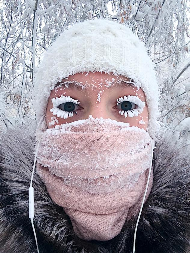 russia extreme cold frozen eyelashes