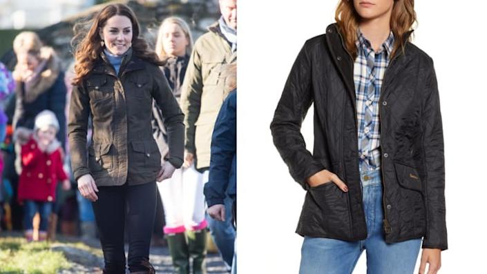 Kate Middleton in a Barbour coat.