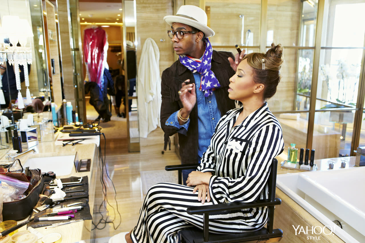 "<p>Marjorie Harvey gets primped and polished by her makeup artist <a href=""https://www.instagram.com/jasonmcglothin/"">Jason McGlothin</a> at the Four Season George V hotel in Paris. <i>Photo: <a href=""http://hugueslaurent.fr/"">Hugues Laurent</a></i></p>"