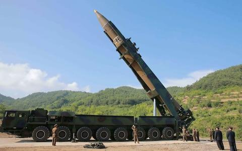 <span>Analysts say the performance and design suggest the Hwasong-14 uses a modified version of the Soviet-designed RD-250 engine</span> <span>Credit: Korean Central News Agency/Korea News Service via AP </span>