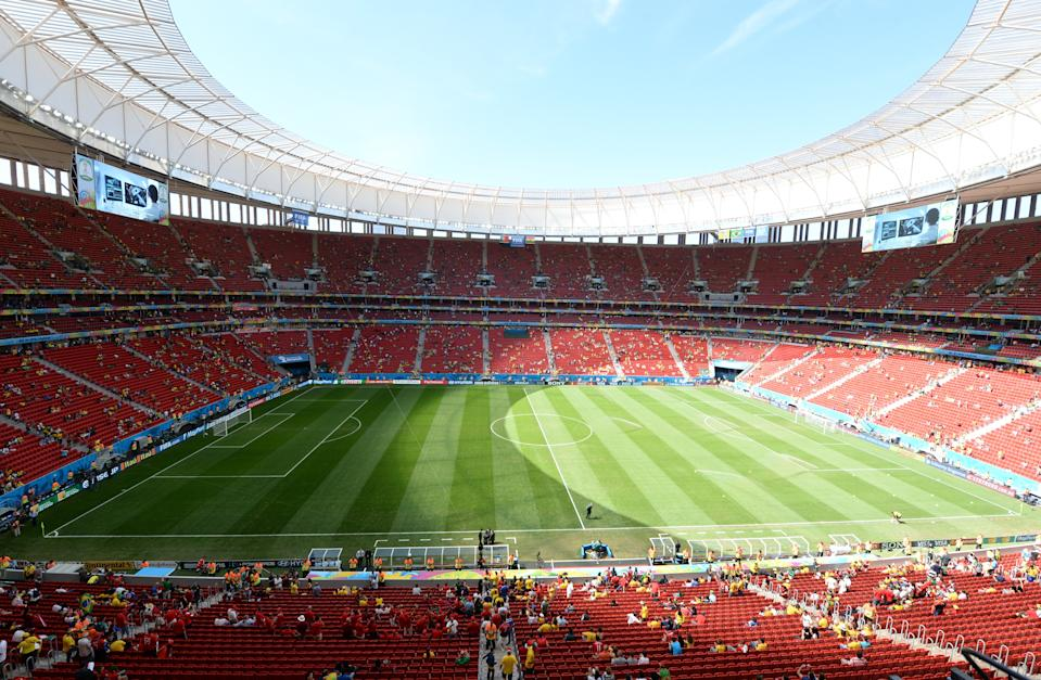 A general view shows the Mane Garrincha National Stadium in Brasilia prior to the Group G football match between Portugal and Ghana during the 2014 FIFA World Cup in Brazil on June 26, 2014. AFP PHOTO / EVARISTO SA        (Photo credit should read EVARISTO SA/AFP via Getty Images)