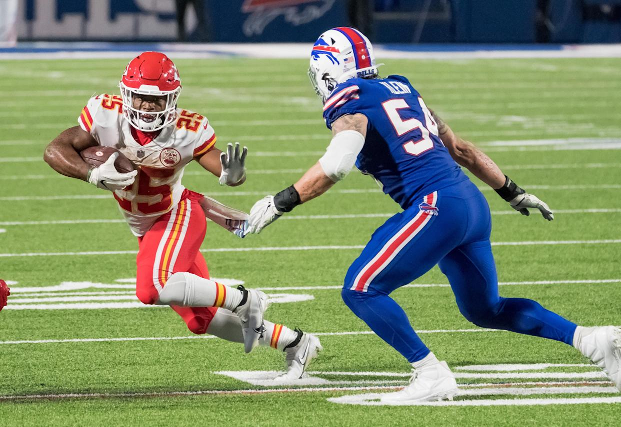 Kansas City Chiefs running back Clyde Edwards-Helaire ran for 803 yards in 13 games last season. (Mark Konezny/USA TODAY Sports)