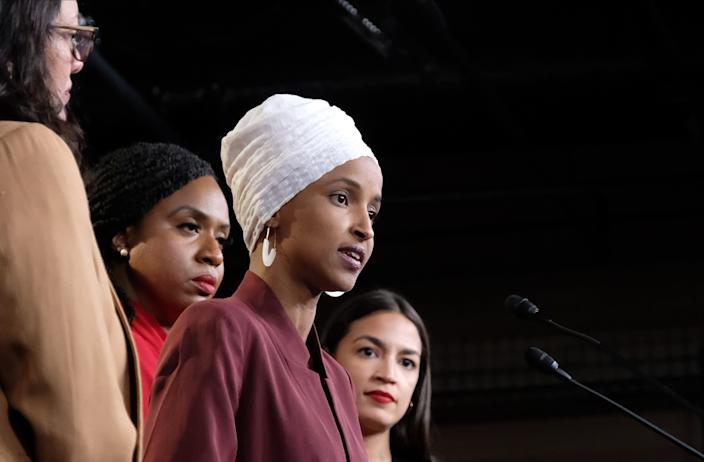 "<h1 class=""title"">Congresswomen Ocasio-Cortez, Tlaib, Omar, And Pressley Hold News Conference After President Trump Attacks Them On Twitter</h1> <cite class=""credit"">Alex Wroblewski/Getty Images</cite>"