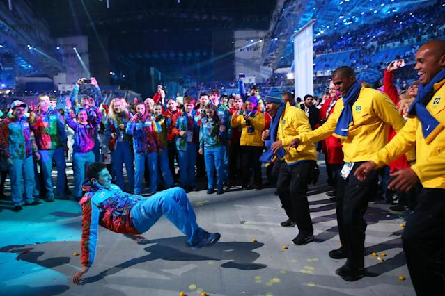 SOCHI, RUSSIA - FEBRUARY 23: Athletes enjoy the closing party after the 2014 Sochi Winter Olympics Closing Ceremony at Fisht Olympic Stadium on February 23, 2014 in Sochi, Russia. (Photo by Ryan Pierse/Getty Images)